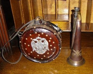 "WOODEN MILITARY CANTEEN ""PRUSSIAN"" and  A CIVIL WAR/INDIAN WARS BUGLE, 7TH CAVALRY. BOTH ARE RE-ENACTMENT PIECES."