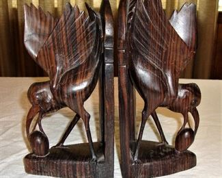 WOOD CARVED BOOKENDS