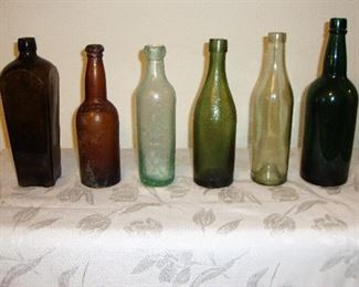 OLD BOTTLES - SOME DATE BACK TO MID to LATE 1800's. (SEE NEXT PHOTO)