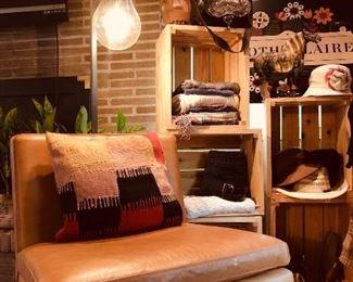 West Elm leather armless chair