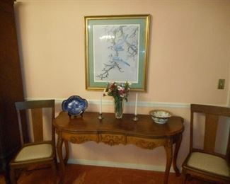 French Hunt Board Top Lifts up  Nippon Bowl  Flow blue china Roses