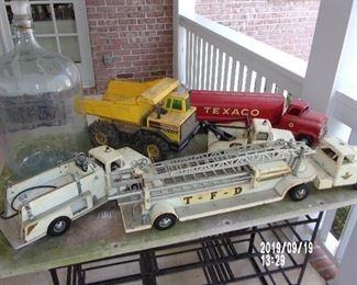 Vintage Tonka No, 5 Ladder Truck  and Pumper Truck Tonka dump Truck   Buddy L Texaco Tanker