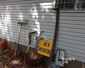 Cast Iron Wash Pot  Vintage Walking Sticks Vintage Men Working Sign  Logging Cross Cut Saw Fire Irons