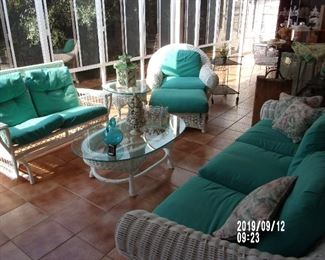 Wicker Sofa  Wicker Glider  Wicker Chair and Ottoman Wicker Coffee Table