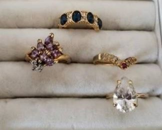 Lot of 4 Rings in Ring Box