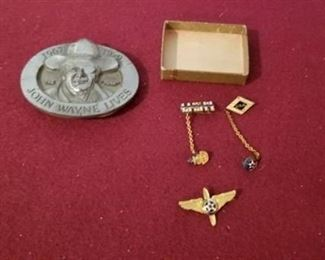 Collectible Tie Tacks and Belt Buckle
