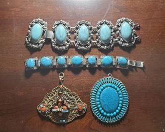 Turquoise Necklace Pendants, Bracelet Pieces