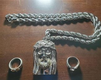 Silver Jesus Head Necklace, Cross Ring and Round Stone Ring