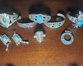 Turquoise Bracelets, Rings, Necklace Pendants