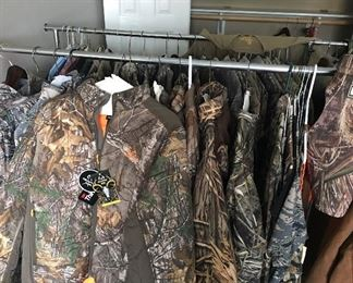 This is just a few of the new & used camouflage clothing. S, M & large.