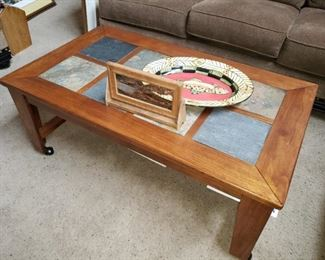 Mission Style Slate Top Coffee Table