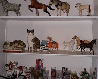 Kentucky  Derby  Glasses,  horse figurines,  cat figurines