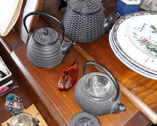 Vintage Chinese teapots with strainers