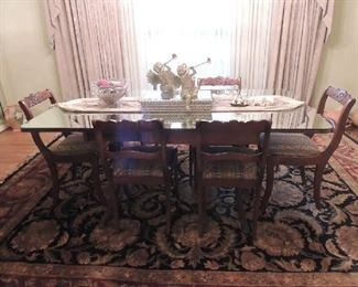 Tell City  Duncan Phyfe table with 6 chairs mirrored top