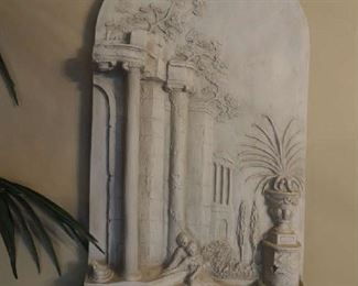 large stucco wall relief