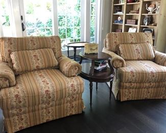 Pair oversized chairs, occasional tables