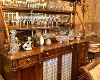 Antique dining set and  server with shelves , crystal & serving pieces