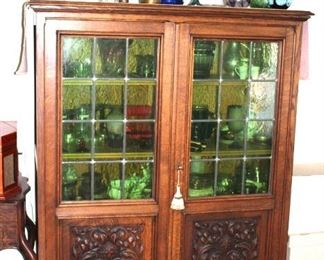 Antique Curio with Green Glass Doors