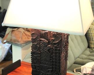 Carved Wood Lamp