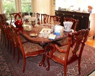 Quality Solid Wood Dining Table with Inlay and 10 Chairs
