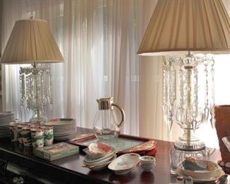 Pair of Quality Lamps with Hanging Crystals and Decorative Serving Pieces