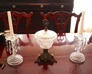 Lots of Quality Vintage Decorative Items All Around - Pair of Crystal Candlesticks and Covered Bowl