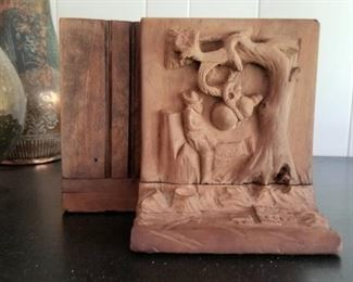 carved Western book ends