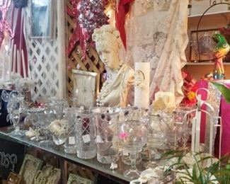 decorative vases and glassware great for weddings and graduation parties