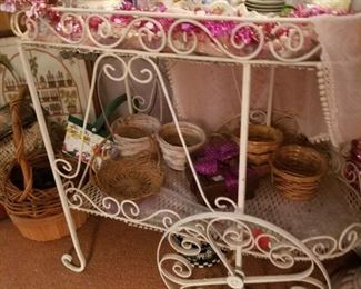 darling white metal tea cart