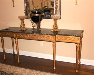 Marble Top Console Table with Gold Finish and Quality Decorative Items