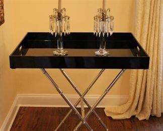 Folding Tray Table with Pair of Candlesticks with Hanging Crystals