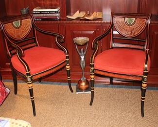Pair of Unique Chairs and Standing Ashtray