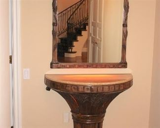Demi-Lune Foyer Table and Mirror