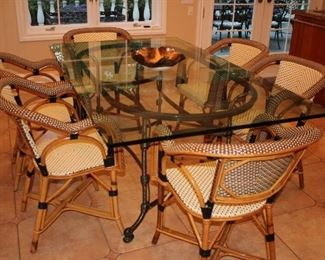 Metal and Glass Kitchen Table with 6 Bamboo Chairs