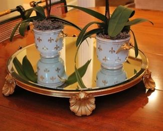 Round Mirrored Tray and Pair of Potted Orchids
