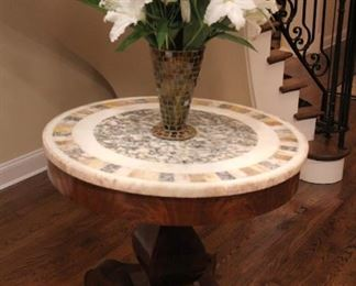 Round Marble / Tile Topped Foyer Table with Decorative