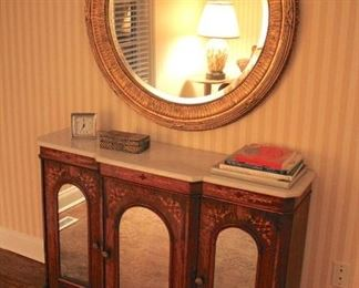 Stenciled Marble Top Cabinet with Large Framed Round Mirror