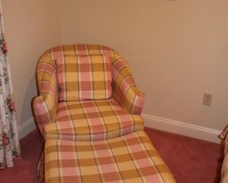 Plaid Easy Chair and Matching Ottoman with Art