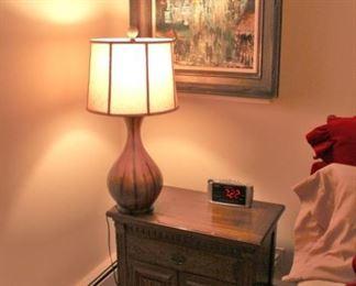 Nightstand, Art and Lamp