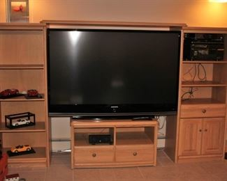 Entertainment Wall Unit and Large Screen TV