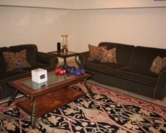 Sofa & Love Seat with Square Side Table and Coffee Table with Rug