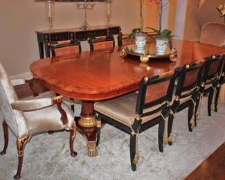Banded Double Pedestal Dining Table with 6 Chairs and 2 End Chairs