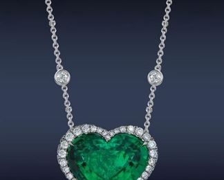 LOT 9634 Emerald Pendant with Diamonds