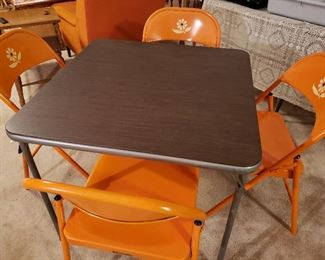Groovy mid century card table and four chairs