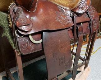 Antique Charley Beals fancy tooled saddle