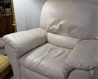 Ivory leather recliner