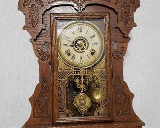 Gorgeous carved oak mantle clock