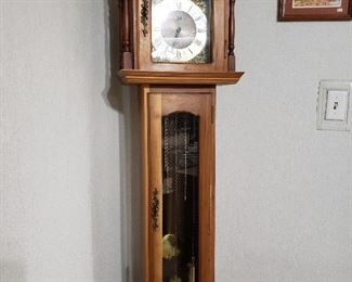 Hand-made walnut grandfather clock