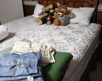 King mattress set with oak Queen headboard
