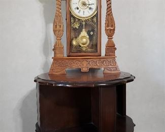 Antique carved clock and barrel side table